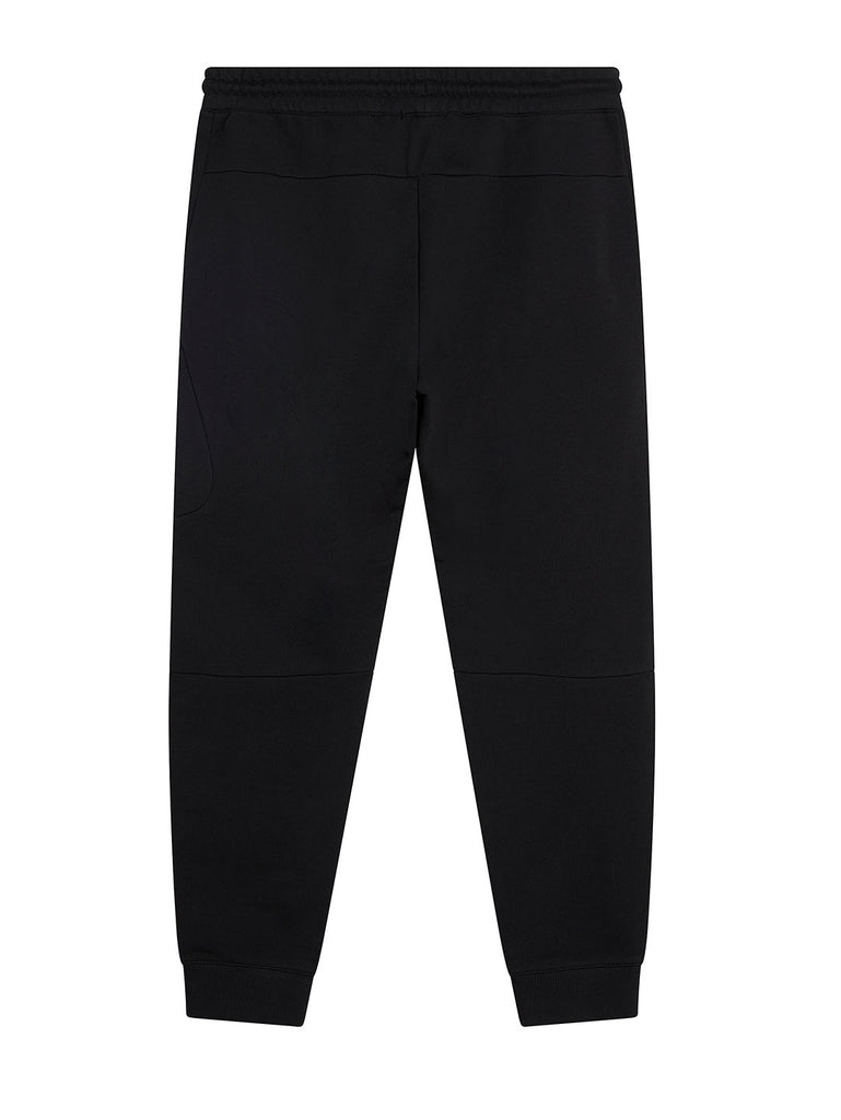 Diagonal Fleece Lens Zip Pocket Sweatpants in Black