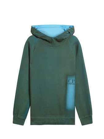 P.Ri.S.M. Hand Sprayed Fleece Goggle Hood Sweatshirt in Blue