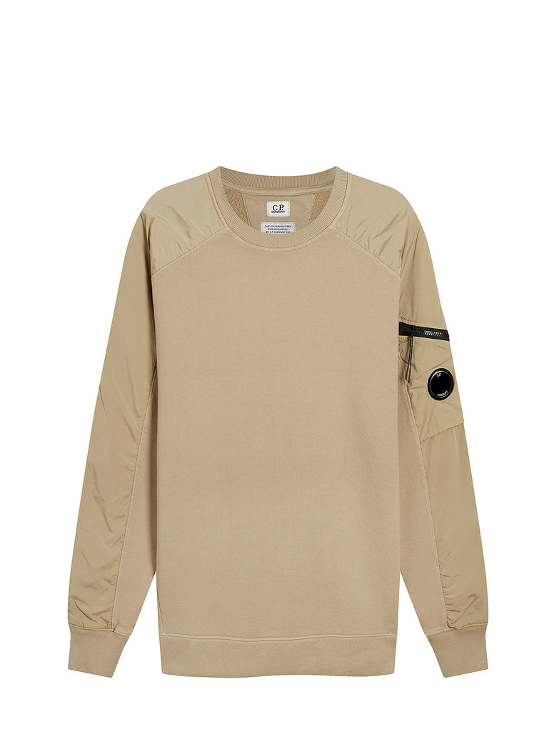 Brushed Fleece Mixed Garment Dyed Lens Sweater in Pale Olive Green