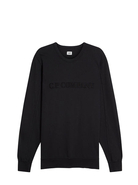 Garment Dyed Light Fleece Chest Embroidered Sweater in Black