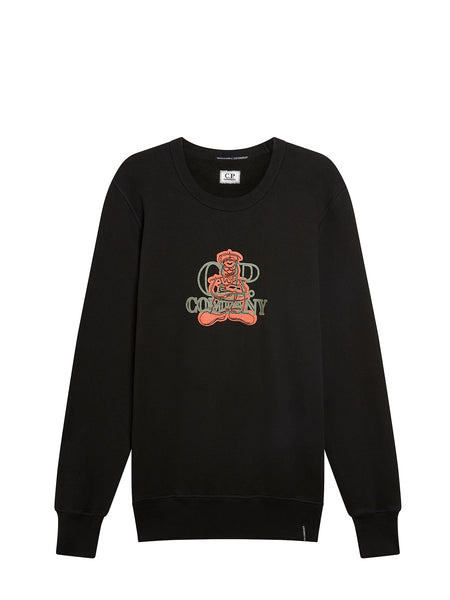Mako Fleece Comics and Cars Logo Crew Sweat in Black