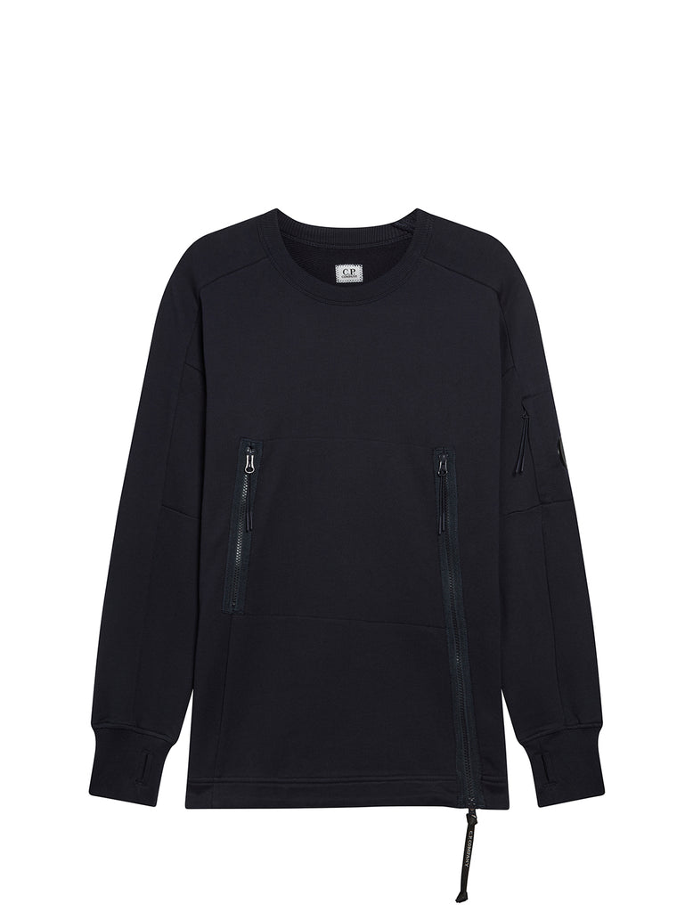 Diagonal Fleece Asymmetrical Zip Sweatshirt in Total Eclipse