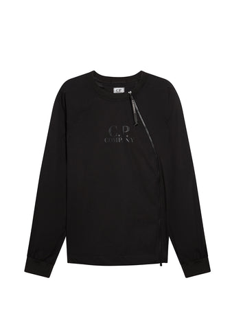 Pro-Tek Asymmetrical Zip Sweatshirt in Black