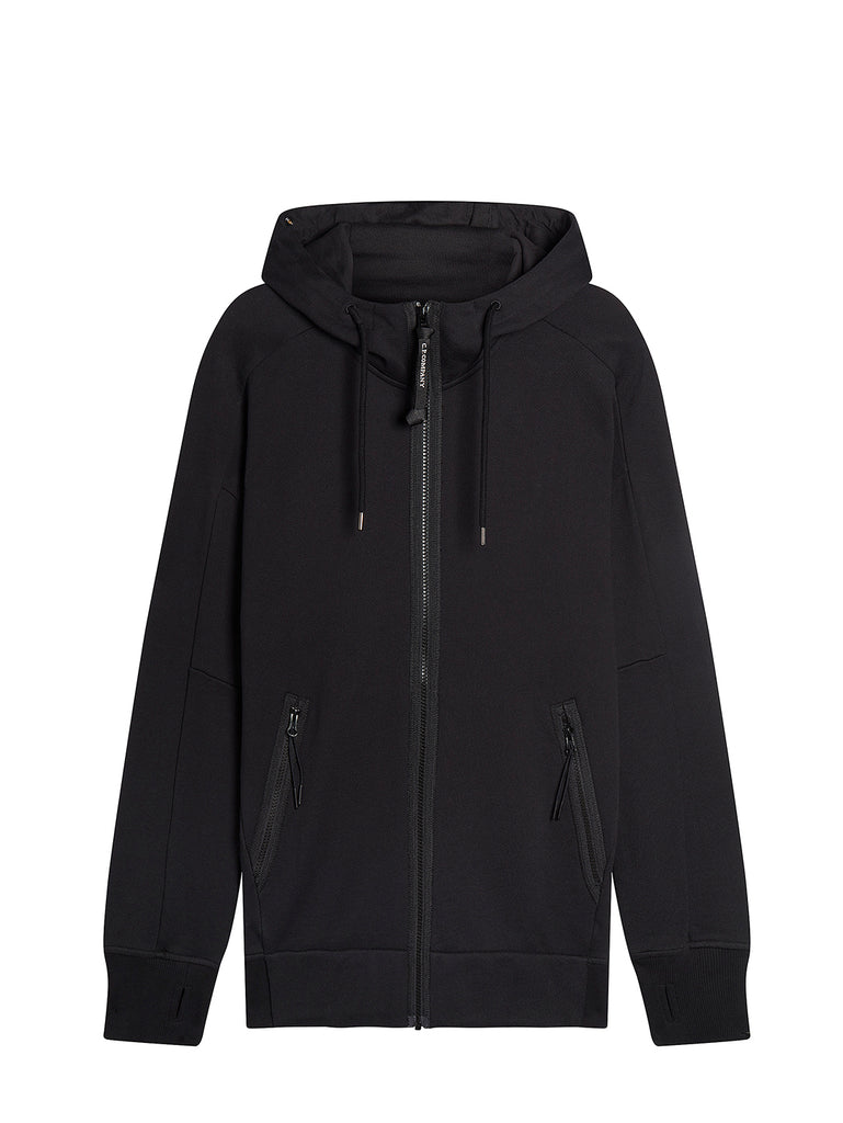Diagonal Raised Fleece Full Zip Goggle Hoodie in Black
