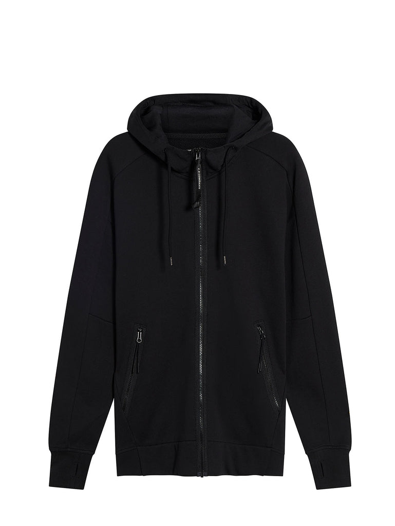 Diagonal Fleece Zip Goggle Sweatshirt in Black