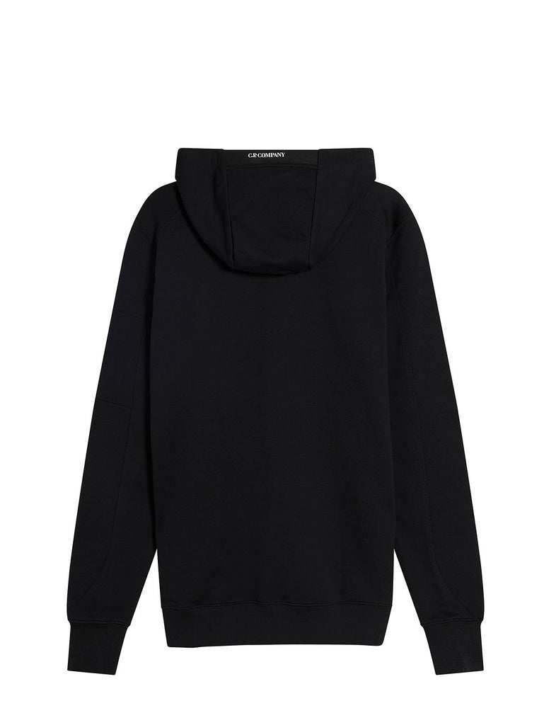 Diagonal Fleece Hooded Lens Sweatshirt in Black