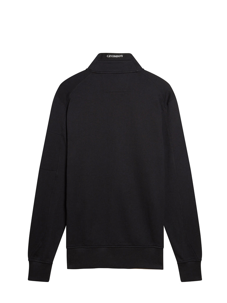 Diagonal Fleece Full Zip Lens Sweatshirt in Black