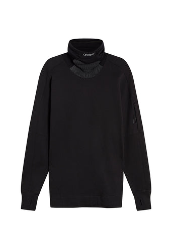 Diagonal Raised Fleece High Neck Lens Sweat in Black