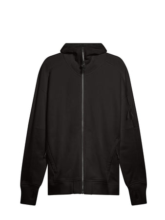 Diagonal Raised Fleece Full Zip Lens Hoodie in Black