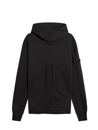 Diagonal Raised Fleece High Neck Lens Hoodie in Black