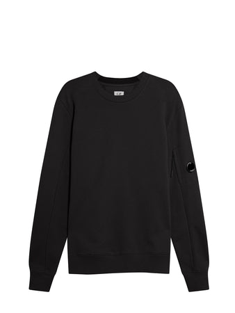 Diagonal Raised Fleece Lens Crew Sweat in Black