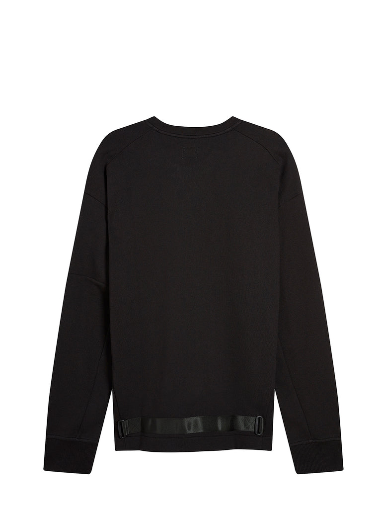 Diagonal Raised Fleece Lens Crew Sweater in Black