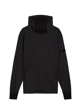 Garment Dyed Stretch Nylon High Neck Lens Hoodie in Black