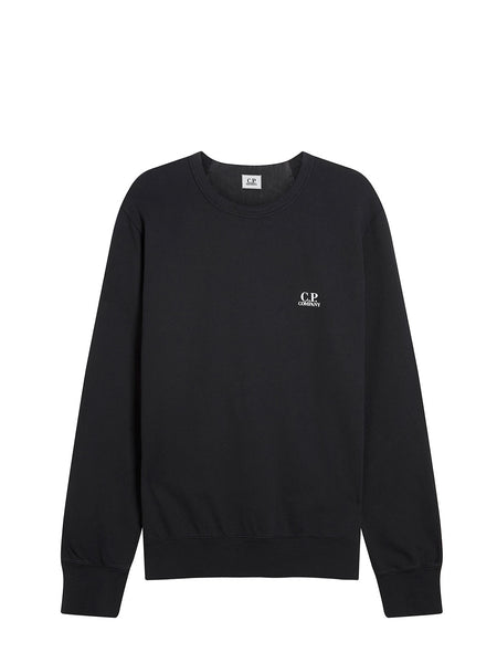 Logo Print Crew Neck Sweatshirt in Black