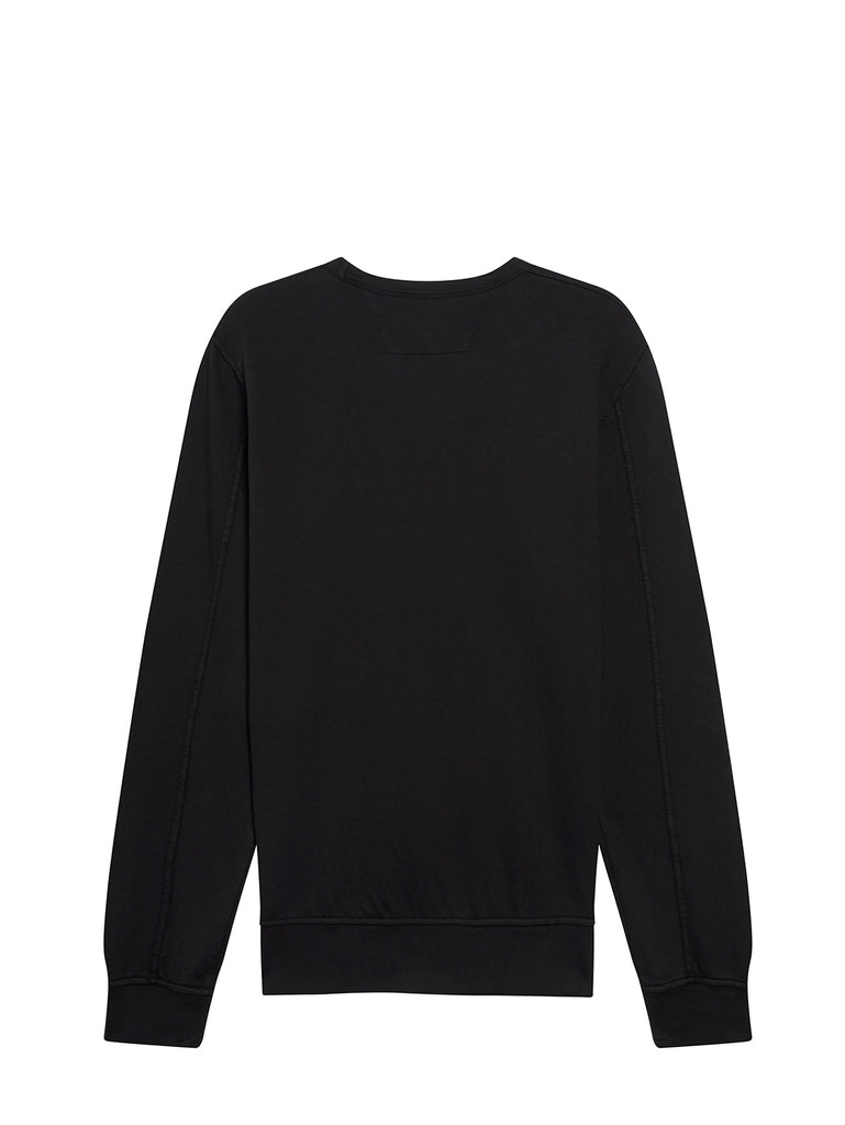 Garment Dyed Light Fleece Texture Logo Sweatshirt in Black