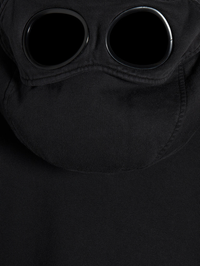 Brushed Fleece Mixed Old Dyed Side Goggle Hood Sweat in Black