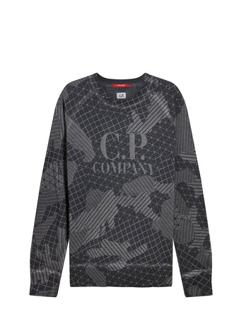 Lasered Cotton Fleece Woodland Camo Sweat in Ebony
