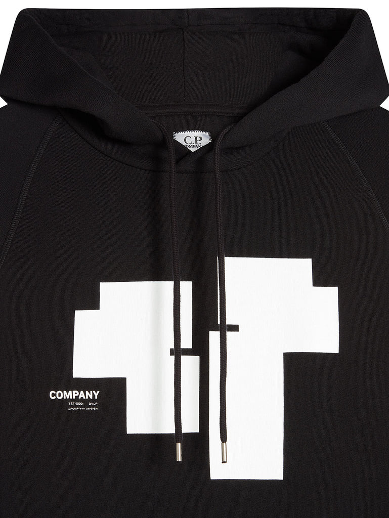 Cotton Fleece Chest Graphic Hoodie in Black