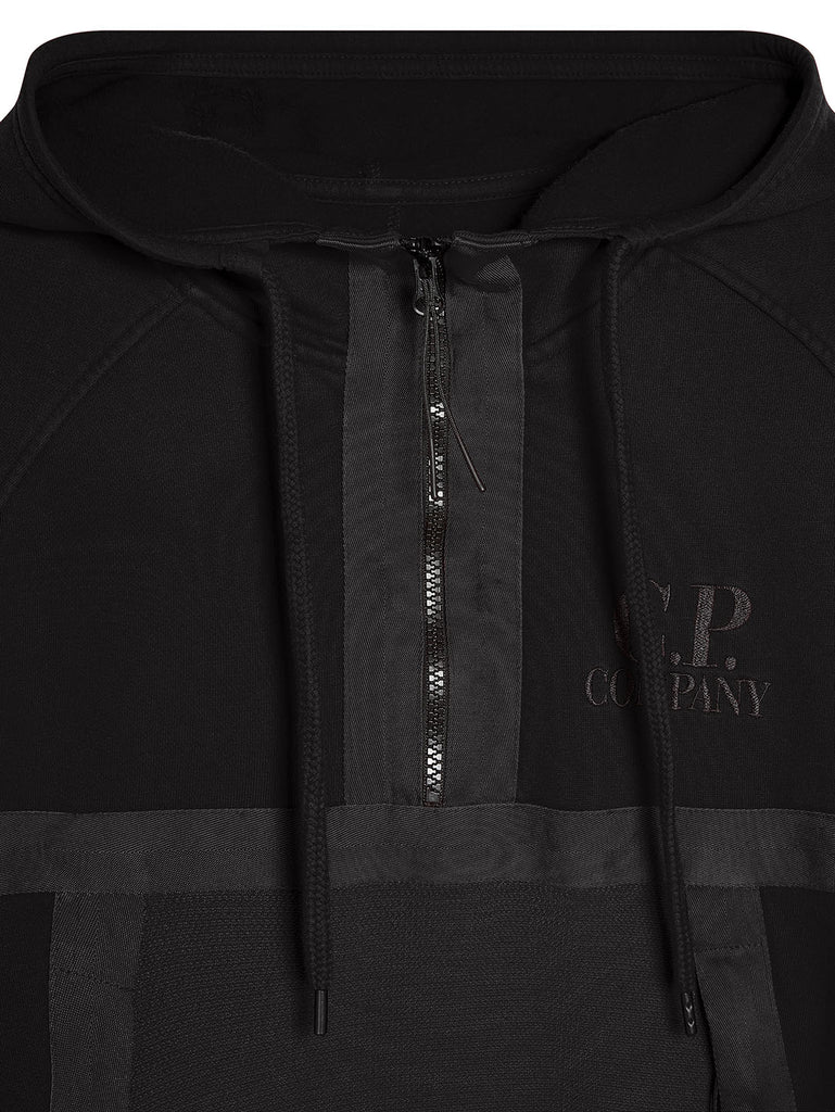 Garment Dyed Fleece J-Mesh Mixed Quarter Zip Hoodie in Black