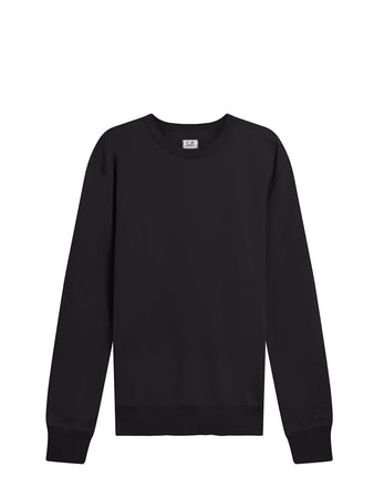 Garment Dyed Brushed Cotton Fleece Sweatshirt in Black