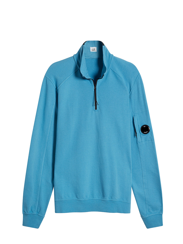 Garment Dyed Light Fleece Quarter Zip Sweater in Bluejay
