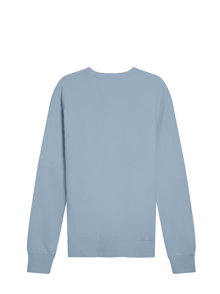 Garment Dyed Light Fleece Logo Crew Sweat in Blue Fog