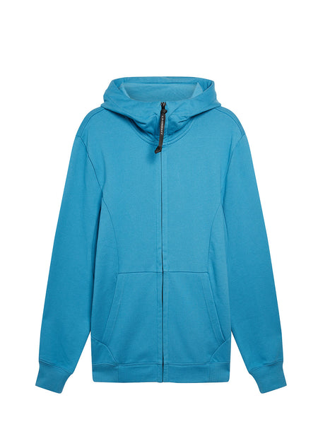Diagonal Raised Fleece Goggle Full Zip Hoodie in Bluejay