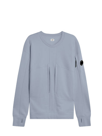 Diagonal Raised Fleece Utility Lens Sweat in Blue Fog