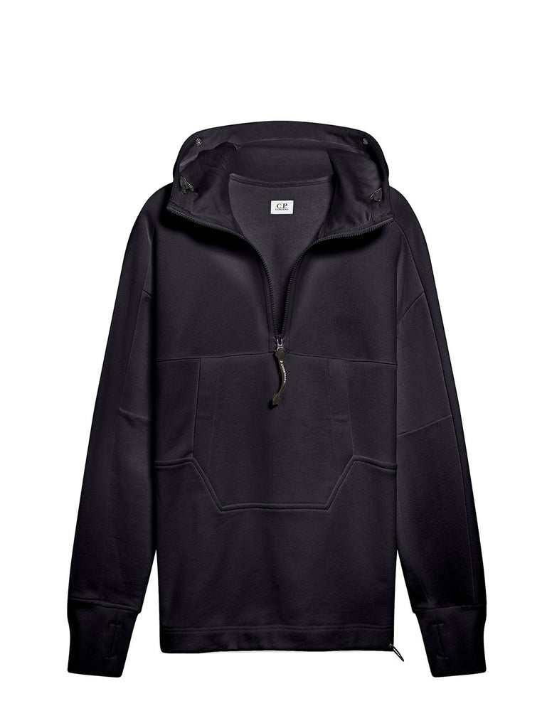 Diagonal Raised Fleece Quarter Zip Goggle Hoodie in Total Eclipse