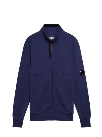 Diagonal Fleece Full Zip Lens Sweatshirt in Blueprint