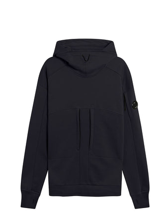 Diagonal Raised Fleece High Neck Lens Hoodie in Total Eclipse