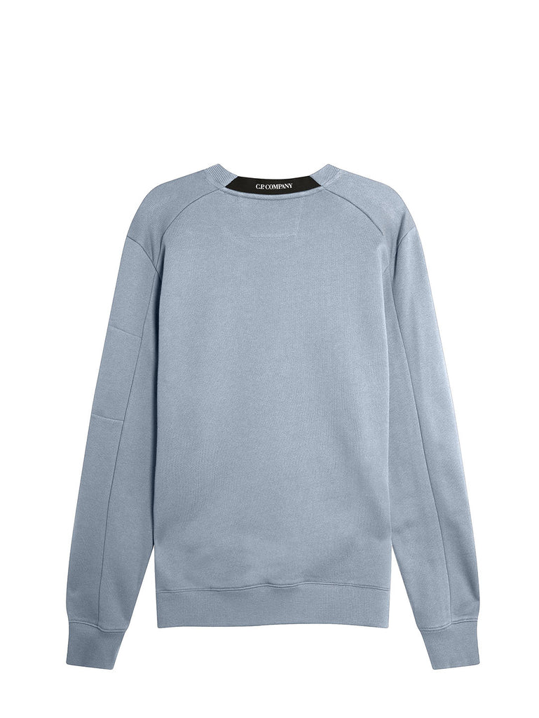 Diagonal Raised Fleece Lens Crew Sweat in Blue Fog