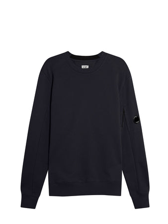 Diagonal Raised Fleece Lens Crew Sweat in Total Eclipse