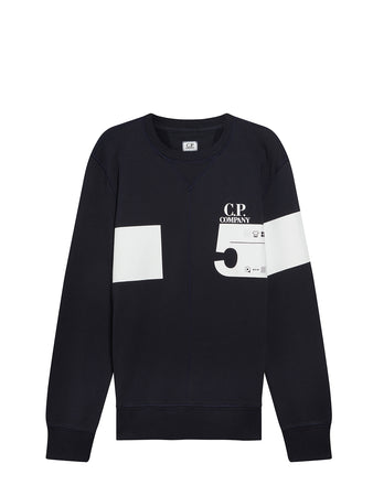 Cotton Fleece 5 Print Sweatshirt in Total Eclipse