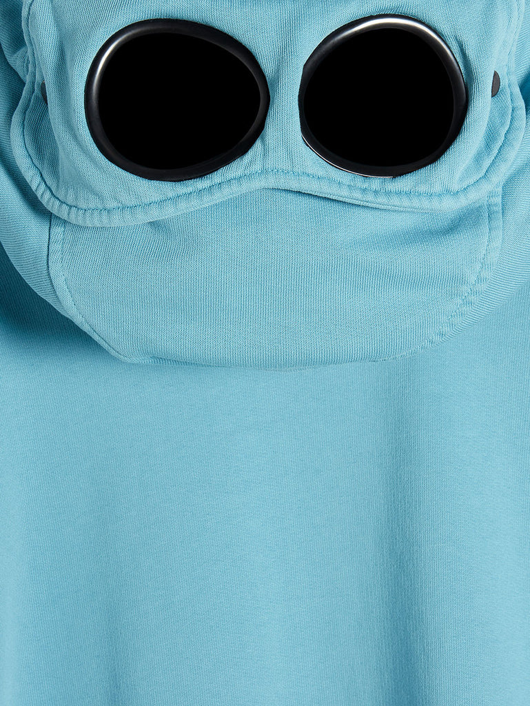 Brushed Fleece Mixed Old Dyed Side Goggle Hood Sweat in Bluejay