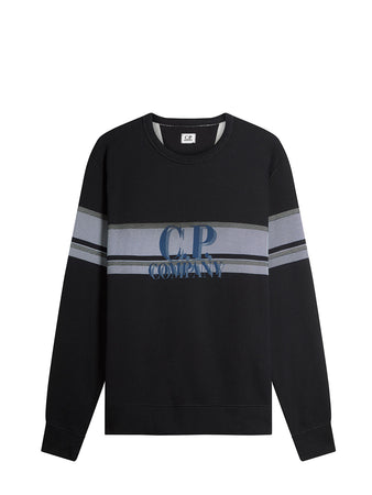 Basic Fleece Bands Print Fleece Sweat in Black