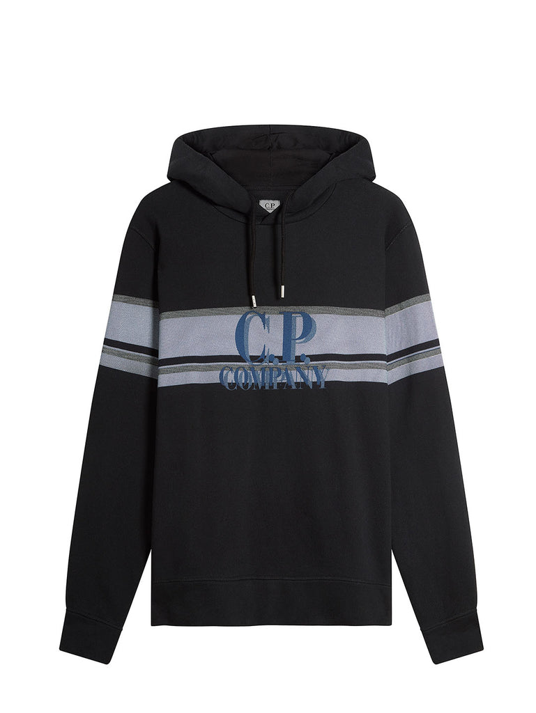 Basic Fleece Bands Print Fleece Hooded Sweat in Black