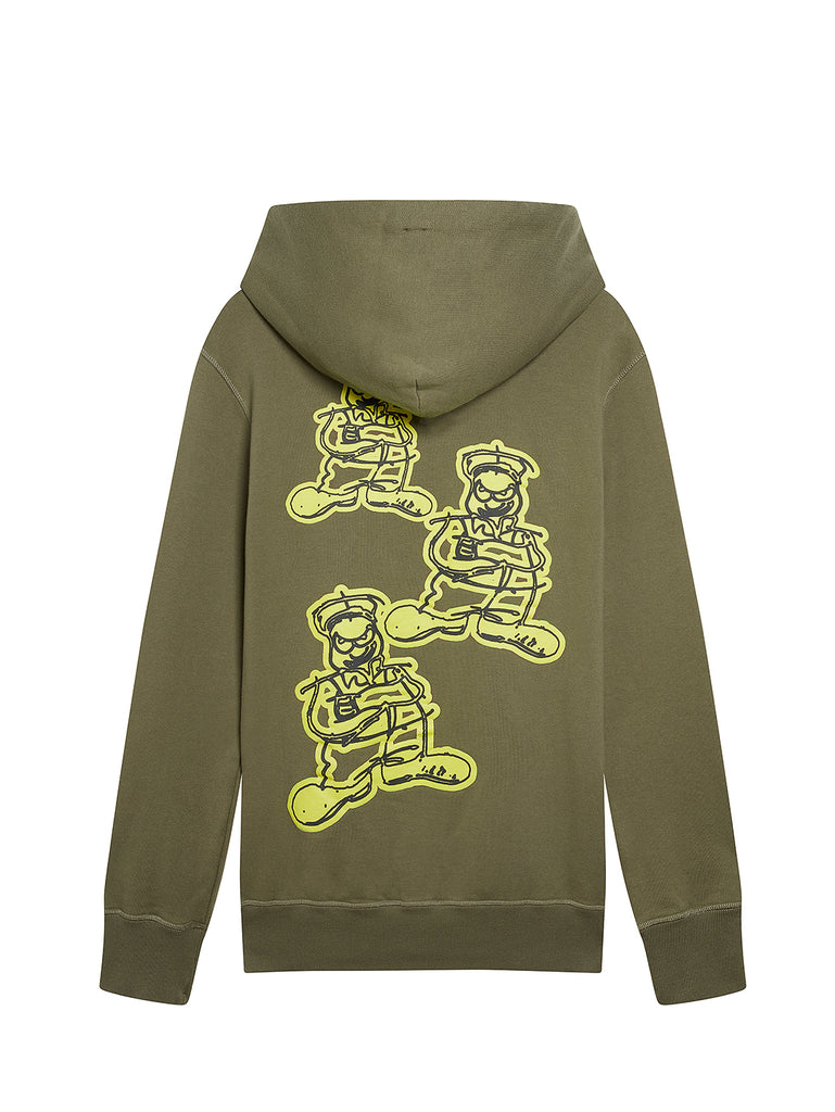 Mako Fleece Comics and Cars Logo Hoodie in Dusty Olive