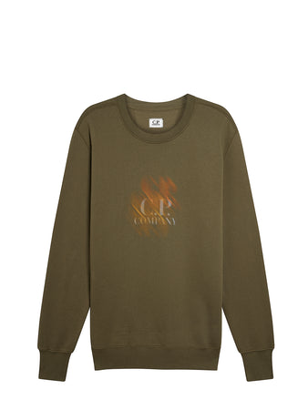 Cotton Fleece Diagonal Blur Logo Sweatshirt in Olive Night