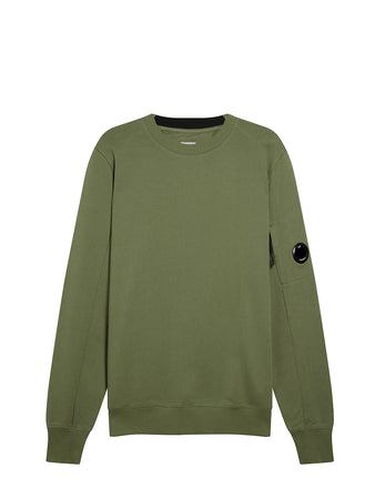 Diagonal Fleece Lens Sweatshirt in Burnt Olive