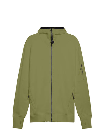 Diagonal Raised Fleece Full Zip Lens Hoodie in Martini Olive
