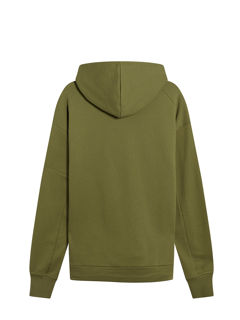 Diagonal Raised Fleece High Neck Lens Hoodie in Martini Olive