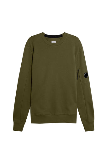 Diagonal Raised Fleece Lens Crew Sweat in Ivy Green