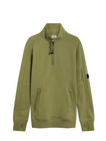 Diagonal Raised Fleece Quarter Zip Lens Sweat in Martini Olive