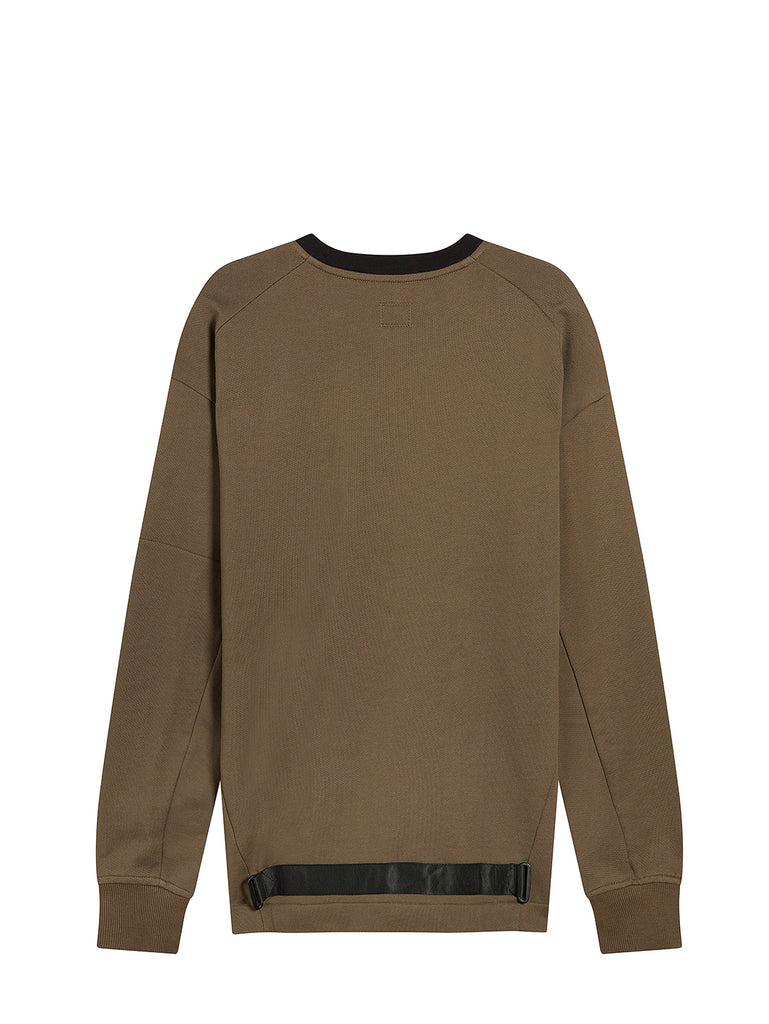 Diagonal Raised Fleece Lens Crew Sweater in Dusty Olive
