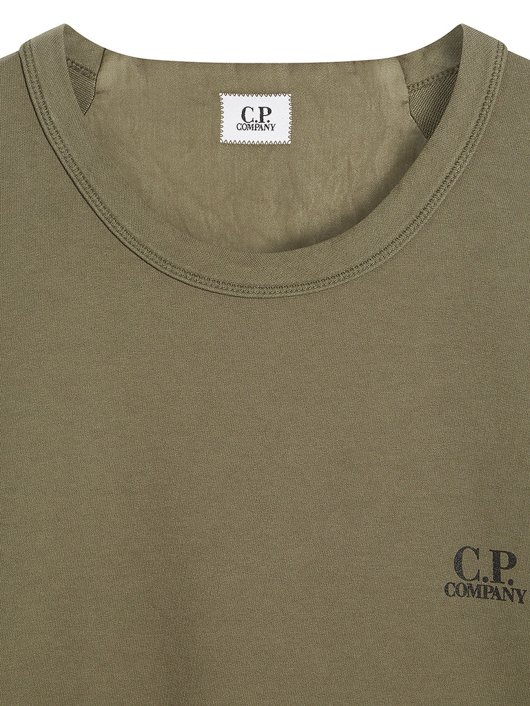 Logo Print Crew Neck Sweatshirt in Dusty Olive