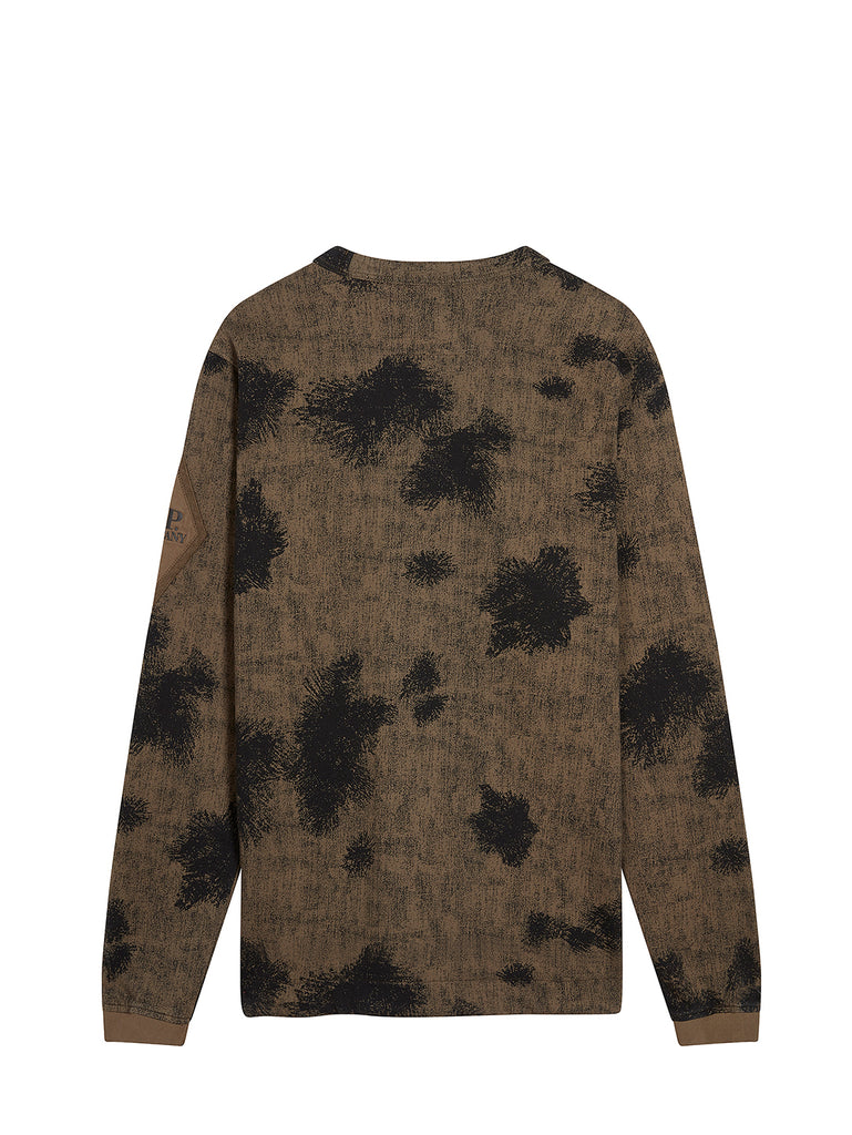 Light Fleece Camo Long Sleeve Diamond Logo Sweatshirt in Dusty Olive