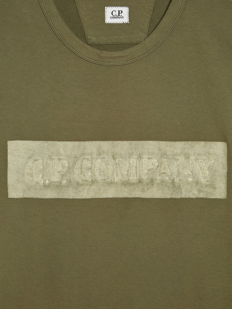 Garment Dyed Light Fleece Texture Logo Sweatshirt in Burnt Olive