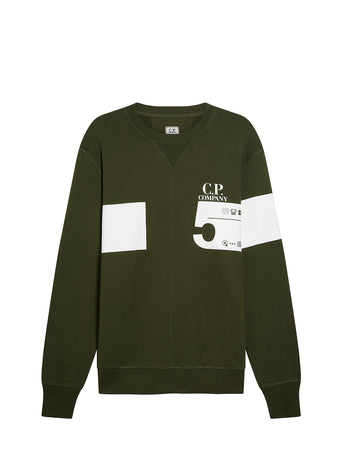 Cotton Fleece 5 Print Sweatshirt in Forest Night