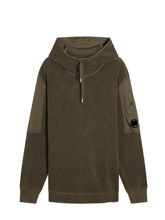 Pile Hooded Polar Fleece Sweatshirt in Dusty Olive